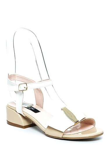 Kuum Kalın Topuklu Sandalet Altın